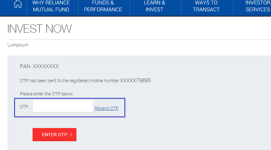 Reliance Mutual Fund - Online Purchase